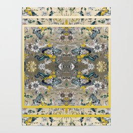 Passion Flower Baroque in Gold Yellow Grey Poster