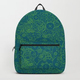 Clockwork Turquoise & Lime / Cogs and clockwork parts lineart pattern Backpack