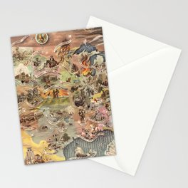 History of America Pictorial State map of Historical Events landscape painting by Aaron Bohrod Stationery Cards