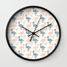 Trendy Pink and Blue Pastel Flamingo Silhouette Wall Clock