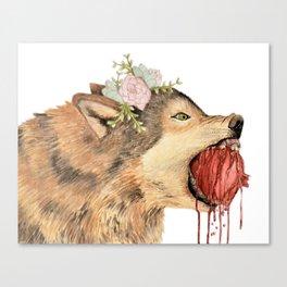 Wolf Biting Pomegranate Canvas Print