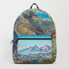 Yellowstone Park and Lake Panorama;  Wyoming, Montana & Idaho landscape painting by Heinrich Berann  Backpack