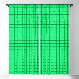 Acid Green and Black Grid - more colors Blackout Curtain