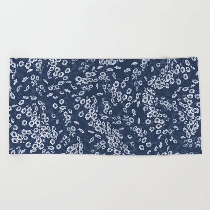 Daisy Dream Navy Beach Towel