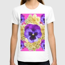 PURPLE PANSY FLOWERS & IVORY ROSES  PINK ART T-shirt