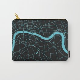 Black on Turquoise London Street Map Carry-All Pouch