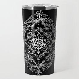 Mandala Doodle Pattern in Black & White Travel Mug