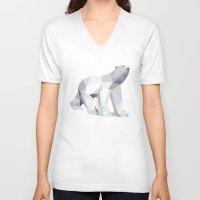 polar bear V-neck T-shirts featuring Polar bear by Marta Olga Klara