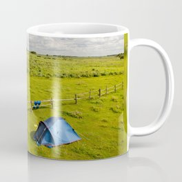 Camping tent and grass expanse Coffee Mug