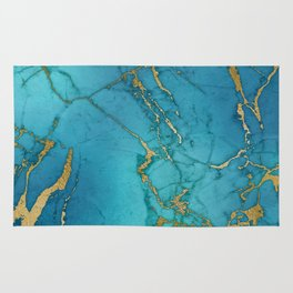 Electric Blue Marble Rug
