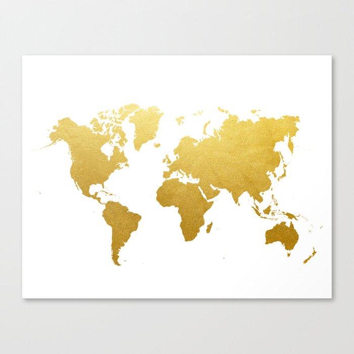 Faux Gold Foil World Map Print Gold Art Print Interior Design Wall