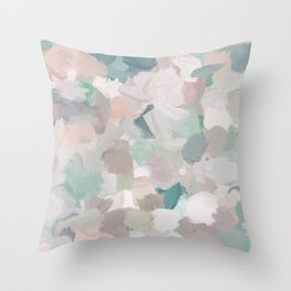 Mint Seafoam Green Dusty Rose Blush Pink Abstract Nature Flower Wall Art, Spring Painting Print Throw Pillow