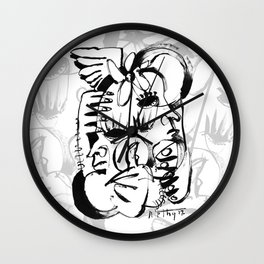 Personal Angel - b&w Wall Clock
