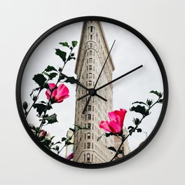 Pink Flowers in New York City (Color) Wall Clock