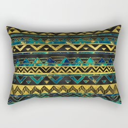 Gold and Teal Marble Tribal Boho Ethnic  Pattern Rectangular Pillow