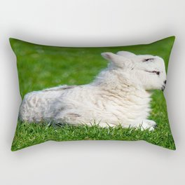 A Sleepy Newborn Lamb In A Field Rectangular Pillow