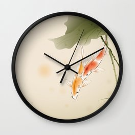 Koi fishes in lotus pond Wall Clock