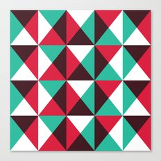 Red, turquoise, black triangle pattern Canvas Print
