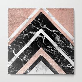 Modern rose gold glitter foil white black marble glitter triangles stripes Metal Print
