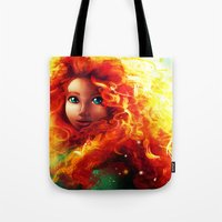 be brave Tote Bags featuring Brave by Peach Momoko