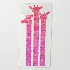 Giraffes – Pink Ombré Beach Towel