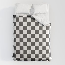 Gingham Dark Slate Grey Checked Pattern Comforters
