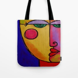 Colorful Abstract Face Digital Painting Tote Bag