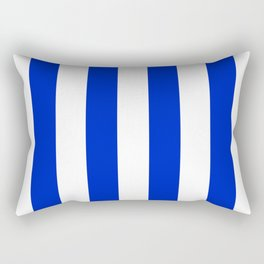 Cobalt Blue and White Wide Circus Tent Stripe Rectangular Pillow