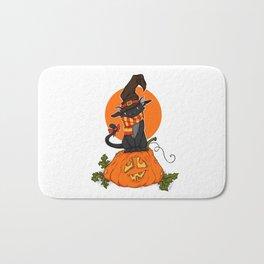 Witch Cat on Pumpkin Head Bath Mat