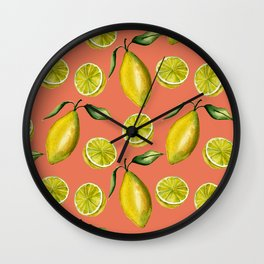Lemons pattern Wall Clock