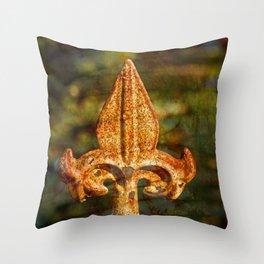 Fleur de Lis in Rust Throw Pillow