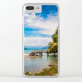 Unspoiled alpine scenery at Kinloch Wharf, New Zealand Clear iPhone Case