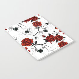 Black Widow Spider with Red Rose Notebook