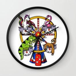 Ferris Wheel Unicorn T-Rex Dinosaur Sloth Flamingo Wall Clock