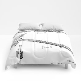 Firemans Axe Patent - Fire Fighter Art - Black And White Comforters