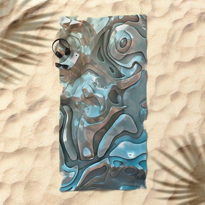 Abstract Metallic Layers  Beach Towel