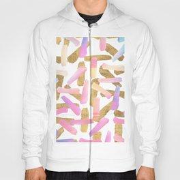 Modern pink lavender teal gold watercolor brushstrokes Hoody