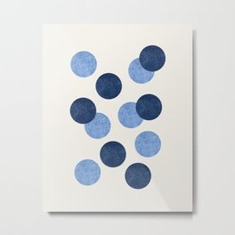 Blue Dots - Abstract Pattern Metal Print