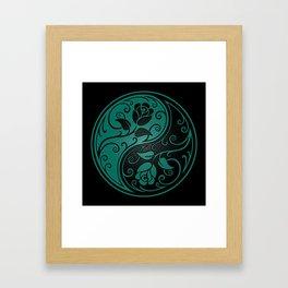 Teal Blue and Black Yin Yang Roses Framed Art Print