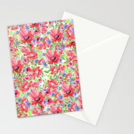 Blanket of Poppies Floral Print Stationery Cards