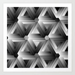 Monochrome penrose triangles Art Print