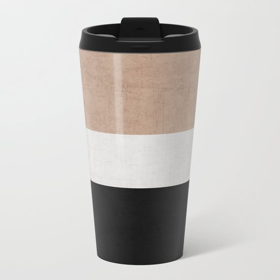 classic - natural, cream and black Metal Travel Mug