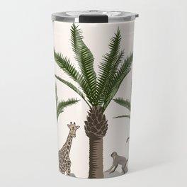 Tropical jungle and safari animal design. Palm tree, giraffe, raccoon pattern Travel Mug