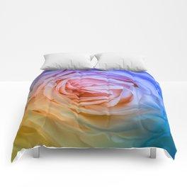 Pink Rose Ruffle Rainbow Comforters