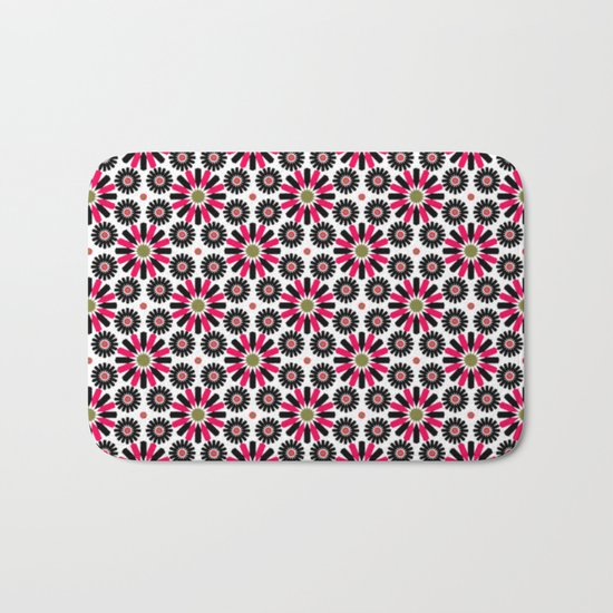 Small Hot Pink and Black Flowers Bath Mat