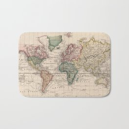 Vintage Map of The World (1833) Bath Mat