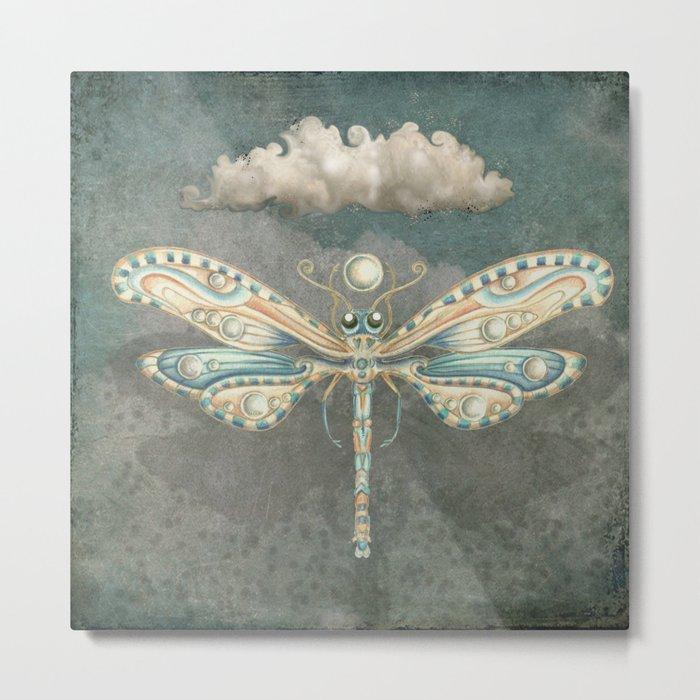 Dragonfly of the moon Metal Print