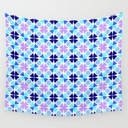 Symmetric patterns 189 blue and purple Wall Tapestry