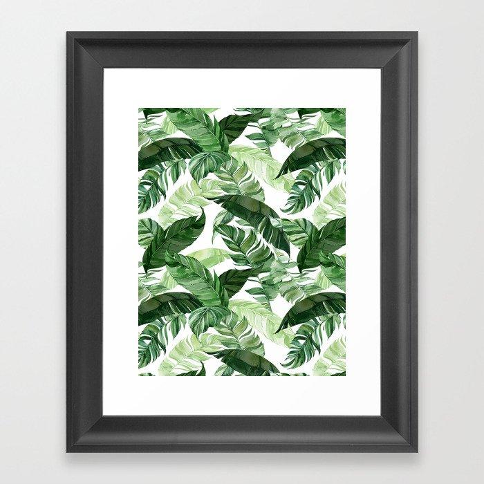 Green leaf watercolor pattern Gerahmter Kunstdruck