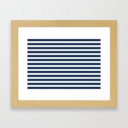 Slate blue and White Thin Stripes - Navy Nautical Pattern Framed Art Print